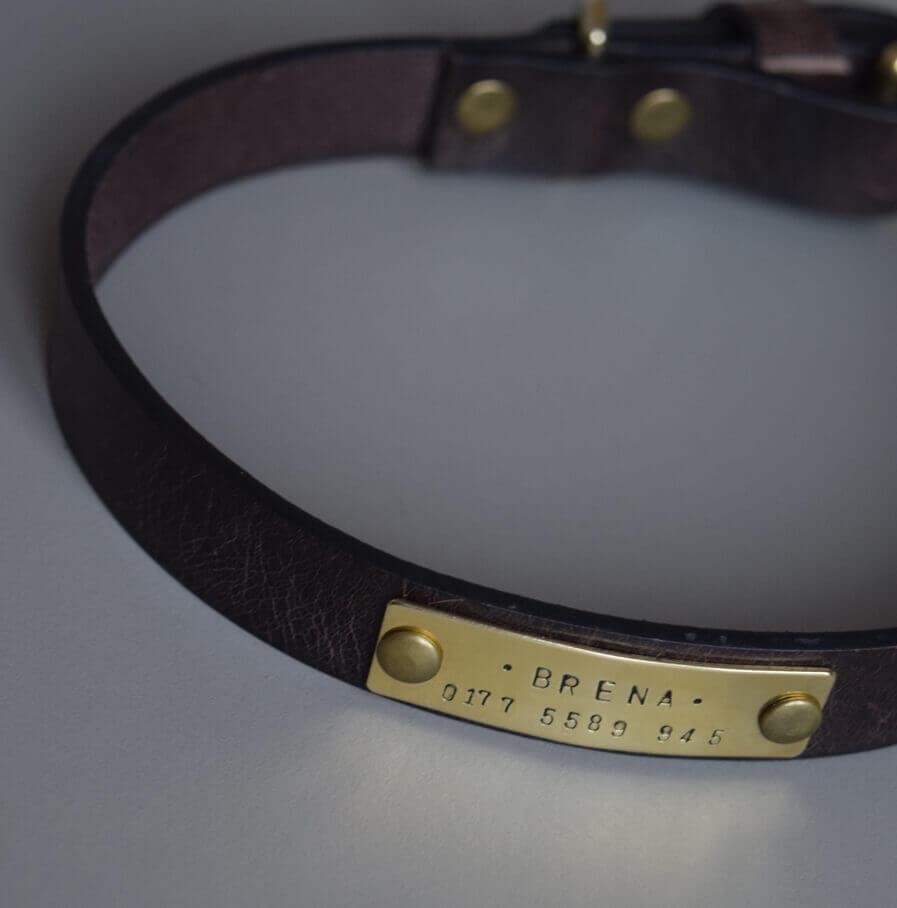 hundehalsband mit namensplakette braun made for dogs. Black Bedroom Furniture Sets. Home Design Ideas