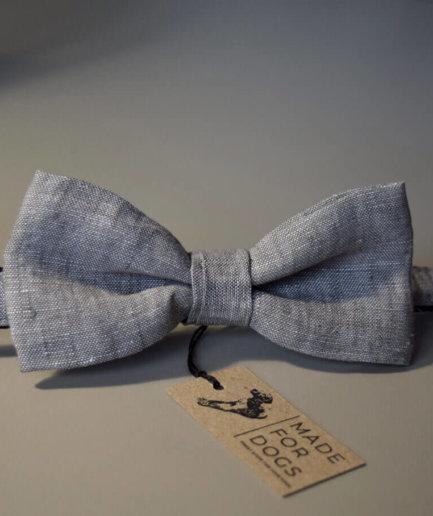 Hundehalsband mit Fliege hell grau