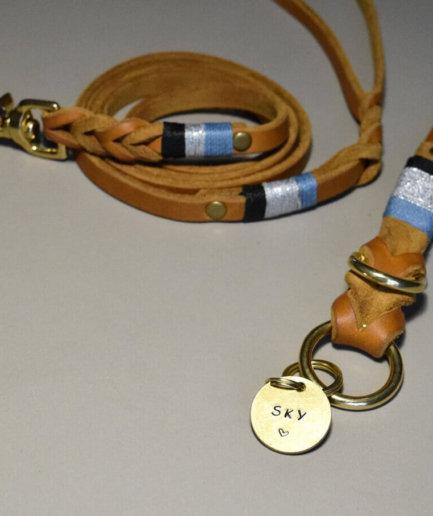 Hundehalsband mit Leine